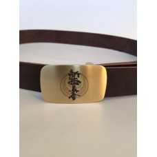 Кожаный ремень с символикой Шинкиокушинкай