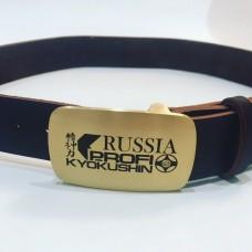 Кожаный ремень с символикой Киокушин Профи