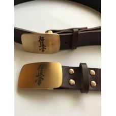 Кожаный ремень с символикой Киокушинкай